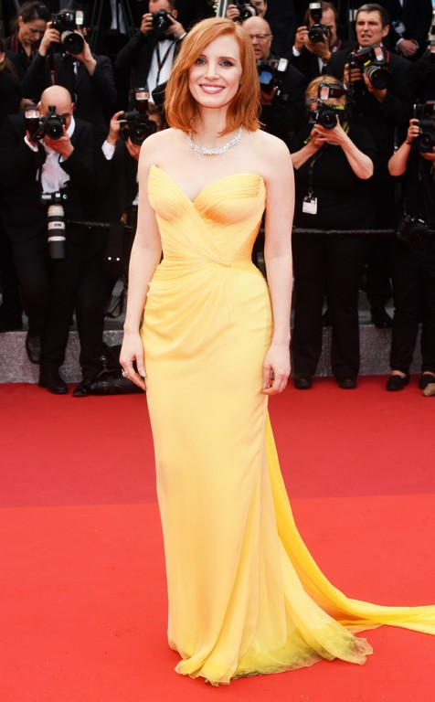 Jessica chastain in Armani prive and piaget